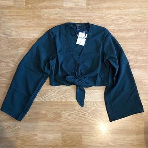 Forever 21 teal cropped blouse